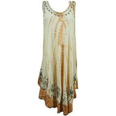 Mogul Womens BEach Hippie Dress Embroidered Sleeveless Sundress XL at... (60 BRL) ❤ liked on Polyvore featuring dresses, sleeveless dress, hippie sundress, embroidered dress, broderie dress and sundress dresses