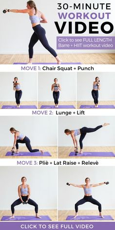 Let this full workout video melt the pounds away with barre and hiit workout mov… – Fitness Ideas Hiit Workout Videos, 30 Minute Workout Video, At Home Workouts, Barre Workouts, Workout Routines, Hiit Workouts Weights, Barre At Home Workout, Hiit Workouts With Weights, Ab Exercises