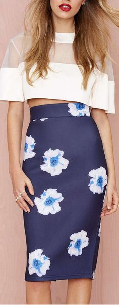 floral pencil midi skirt