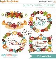 50% OFF SALE Clipart  Fall Wreaths / Autumn by MyClipArtStore