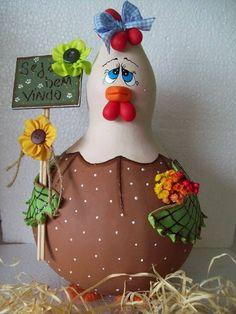 galinha decorativa feita de cabaça R$ 50,00