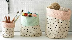 This was such an enjoyable sewing project to do for Love Sewing magazine and I'm really pleased to be able to share it here with you today. These fabric buckets are quick and easy to make and… Fabric Boxes, Fabric Storage, Storage Bins, Fabric Basket, Home Crafts, Diy Crafts, Sewing Projects, Diy Projects, Sewing Ideas
