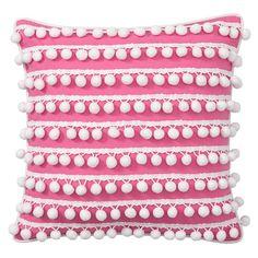 Poolside Pom Pom Pillow Cover, 16 X 16, Pink