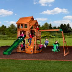 The Liberty II Wooden Swing Set has an awesome raised clubhouse topped by a wooden roof, with sides, bay windows, dormers, and a…