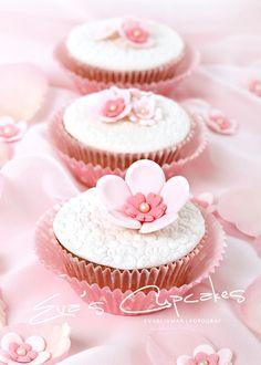 Pink Flower Embossed Cupcake