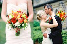 red, yellow, orange, greenery bright colorful bouquet | winston salem wedding brookstown inn | leigh pearce weddings | cade bowman photography