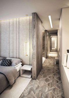 Dormitório de casal: papel de parede, luminária pendente