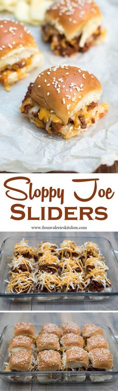 Toasted buns filled with a super flavorful Sloppy Joe mixture and melted cheese. These fun Sloppy Joe Sliders have game day party written all over them! ~ http://www.fromvalerieskitchen.com