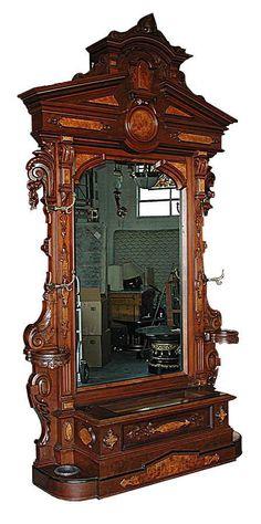Antique Renaissance Revival Carved Rosewood Hall Piece