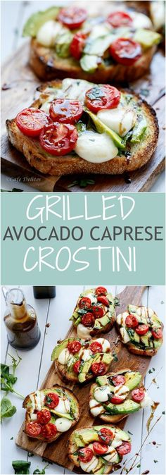 Grilled Avocado Caprese Crostini Recipe- sweet tomatoes with fresh basil, mozzar… – brunch Brunch Recipes, Appetizer Recipes, Breakfast Recipes, Sandwich Recipes, Brunch Appetizers, Breakfast Muffins, Breakfast Ideas, Bread Recipes, Vegetarian Recipes