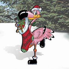 "Christmas Festive Flamingo Yard Art Wood Working Pattern 60"" x 40"""