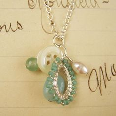 Droplet Button Charm Pendant. A tiny pendant includes amazonite, aventurine,  freshwater pearl and vintage mother of pearl button as well as a handmade silver lace droplet.