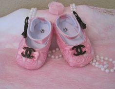 Baby shoespink rosette Chanel inspired by Sassykatboutique on Etsy, $18.50