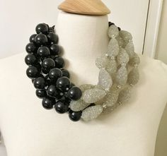 Angela Caputi Style Multi Strand Black & Clear Spaghetti Beads Acrylic Necklace | Jewelry & Watches, Fashion Jewelry, Necklaces & Pendants | eBay!