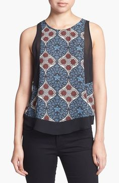 ASTR Sheer Panel Print Tank available at #Nordstrom