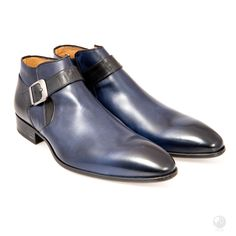Feri Frederico Shoes Blue Black Mens Genuine Leather Single Strap Boot