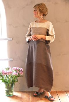 Terry Macey Striped Dress in linen £275.