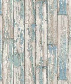 Great design featuring a photo finish effect of wooden planks and peeling paint shown here in blue http://www.wowwallpaperhanging.com.au/wood-wallpaper-sophie-and-dales-scrapwood-wallpaper-from-the-block/