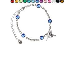 Small 3-D Hummingbird Custom Crystal Color Fiona Charm Bracelet. Silver Tone Small 3-D Hummingbird Custom Crystal Color Fiona Charm Bracelet. 3-D Hummingbird is approx. 0.5 x 0.7 x 0.3 inches (HxWxD) including loop. The hummingbird is a symbol of enjoyment of life and lightness of being. Great gift for Omega Phi Beta sisters. Silver Tone Bracelet: 6-8 Inches Adjustable. 3mm Rolo Chain with 5 - 6mm Swarovski Crystallized Elements Channel Links. Lobster Claw Clasp. This beautiful Bracelet...