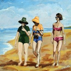 Being Connected - women on the beach mixed media painting, painting by artist Linda Apple