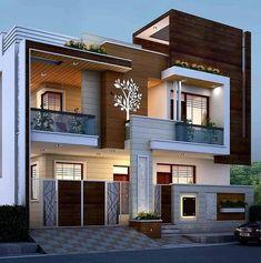 Modern Small House Design, Modern Exterior House Designs, Modern House Facades, Classic House Design, Latest House Designs, Cool House Designs, Exterior Design, 2 Storey House Design, Bungalow House Design