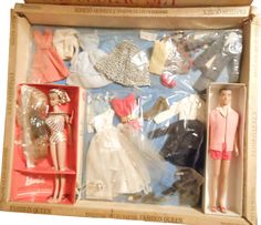 *1964 Trousseau fashion queen Barbie & Ken dolls 2 #864