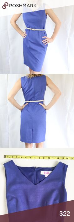 Pretty royal blue, professional 9&Co dress Excellent condition Only worn a few times  Light royal blue color  Material: 100% polyester  Business professional style  Comes with skinny white belt Knee length Zipper on back Inspected for quality  💜My home is smoke-free and pet-free 9&Co Dresses Midi