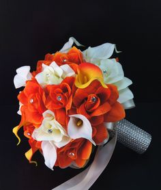 Perfect for Fall wedding-Orange,yellow Rose Real touch calla lily
