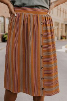 Multi Stripe Button Skirt - Summer Fall Transition Outfit Ideas - Knee Length Modest Midi Skirt Outfits - Cute Casual Skirt Outfits for Women Midi Skirt Outfit, Casual Skirt Outfits, Stylish Outfits, Fall Outfits, Modest Skirts, Cute Skirts, Fall Transition Outfits, Button Skirt, Plus Size Fashion For Women
