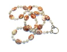 Red and White Marble Beaded Id Badge Lanyard or Name Tag Holder by nonie615, $20.00