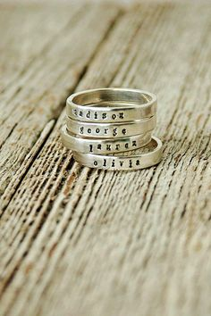 Hand Stamped Mother's Rings Hand Stamped Ring by therhouse on Etsy