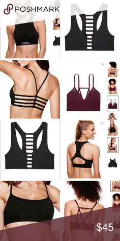VS PINK SPORTS BRA BUNDLE (4) 3 Black Size Small Sports Bra & One GRAY Size Small (Picture shown in maroon for visual). ALL ORDERED ONLINE - NWOT. PINK Victoria's Secret Intimates & Sleepwear Bras