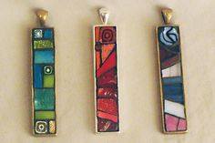 green, red, & purple mosaic necklaces by Mosaic Geek, via Flickr