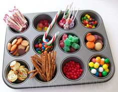 A great way to organize candies for gingerbread house decorating. Can't wait to do this!