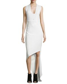 Sleeveless V-Neck Asymmetric Dress by Narciso Rodriguez at Bergdorf Goodman.
