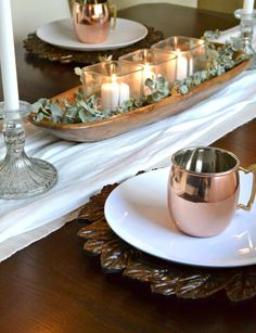 simple dough bowl with eucalyptus and copper accents - thanksgiving table simple dough bowl with eucalyptus and copper accents - thanksgiving table Dining Room Table Centerpieces, Diy Table, Tall Centerpiece, Dessert Tables, Farmhouse Style Table, Wooden Dough Bowl, Thanksgiving Table, Thanksgiving Decorations, Decorative Bowls