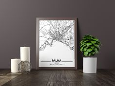 Excited to share the latest addition to my #etsy shop: Palma map print, Minimalistic wall art poster, Spain gifts, Birthday Gift, For father, Father Black And White Wall Art, Black And White City, Black And White Posters, Artwork Prints, Poster Prints, Art Posters, Bathroom Artwork, Map Wall Art, Map Art