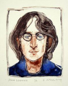 Gary Kelley portrait of John Lennon (monotype)