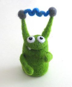 you can't see it in this photo, but his body has purple angelina in it.so he sparkles! Felt Monster, Monster Toys, Needle Felted Animals, Felt Animals, Wet Felting, Needle Felting, Cute Toys, Little Monsters, Polymer Clay Art