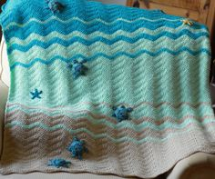 Sea Turtle and Sea Star Blanket Crochet Crib Blanket by InChains