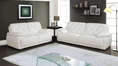 Global U1066-Wh Sofa Loveseat Chair White - White leather Livingroom set. Consist of: sofa, loveseat, chair.