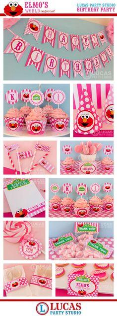 Pink Elmo Sesame Street Inspired Birthday by LucasPartyStudio
