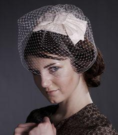 Silk bow headdress with detachable birdcage