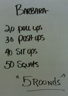 crossfit.  bryan and i do this one... it's killer.  add a 1/2 mile run in after each.  we only do 3 sets, though.