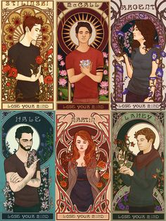 Stiles Stilinski, Scott McCall, Allison Argent, Derek Hale, Lydia Martin & Isaac Lahey | art by Youko-Shirokiba