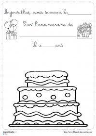 Les outils indispensables pour les anniversaires en cycle 1. Des images de gâteaux, des affiches et des fiches à compléter pour le cahier de vie.
