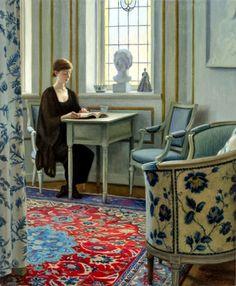 Woman reading in bedroom (2012). Johan Patricny (Swedish, born...