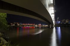 An unusual view of the Goodwill Bridge towards Southbank in Brisbane. #nightphotography #photographycourses