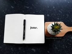 Bullet journal monthly cover page, June cover page, minimalist bullet journal cover page. | @courtney.bullet