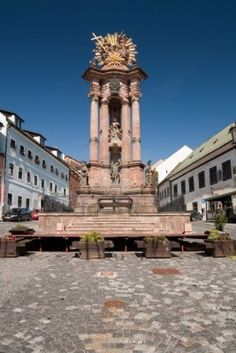 Plague Pillar - Trinity in Banska Stiavnica, Slovakia. The column was built in 1759-1764, replacing an older column, erected in 1711 after the plague outbreak in 1710. It was designed by Italian sculptor Dionys Stanetti and created by local stonemason Karl Holzknecht. Baroque.